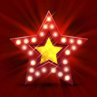 Retro luz sinal estrela melhor hora. banner de estilo vintage. ilustração vetorial.