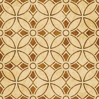 Retro marrom texturizado padrão sem emenda, flor de linha cruzada curva redonda