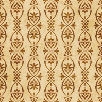 Retro marrom texturizado padrão sem emenda, flor de moldura cruzada curva oval