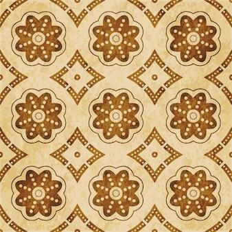 Retro marrom texturizado padrão sem emenda, moldura de flor redonda curva pontilhada
