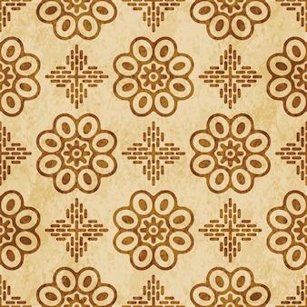 Retro marrom texturizado padrão uniforme, flor de moldura cruzada curva redonda