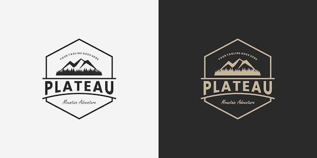 Retro mountain, plateau logo design distintivo vintage