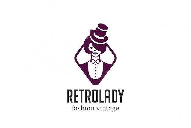 Retro mulher no chapéu logotipo vector vintage ícone.