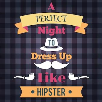 Retro noite perfeita para se vestir como um hipster poster ilustração vetorial