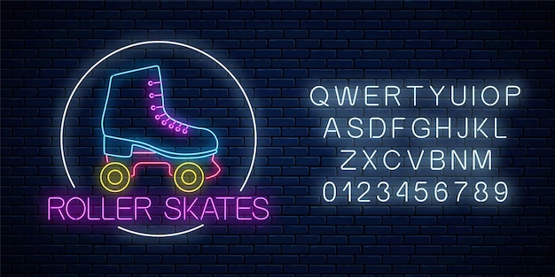 Retrô patins de néon brilhante assinar no quadro do círculo com o alfabeto na parede de tijolo escuro.