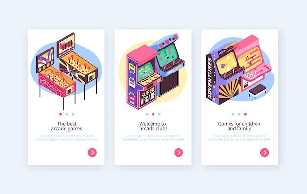 Retro pinball video redemption arcade game machines crianças adulto entretenimento 3 banners verticais isométricos definido