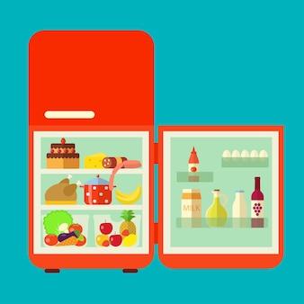 Retro red inaugurado geladeira cheia de alimentos. ilustração em vetor plana