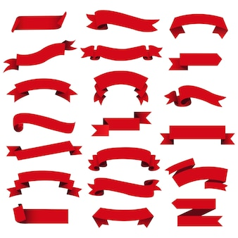 Retro red web ribbon set fundo isolado