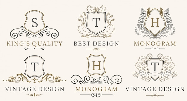 Retro royal vintage shields logotype conjunto. caligrafia de vetor elementos de design de logotipo de luxo.