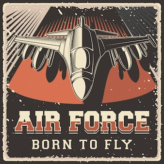 Retro rústico grunge avião militar do exército da força aérea do vintage cartaz sinal