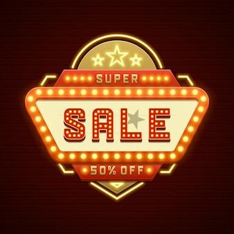 Retro, showtime, sinal, venda, cinema, signage, lâmpadas, quadro, e, néon, lâmpadas