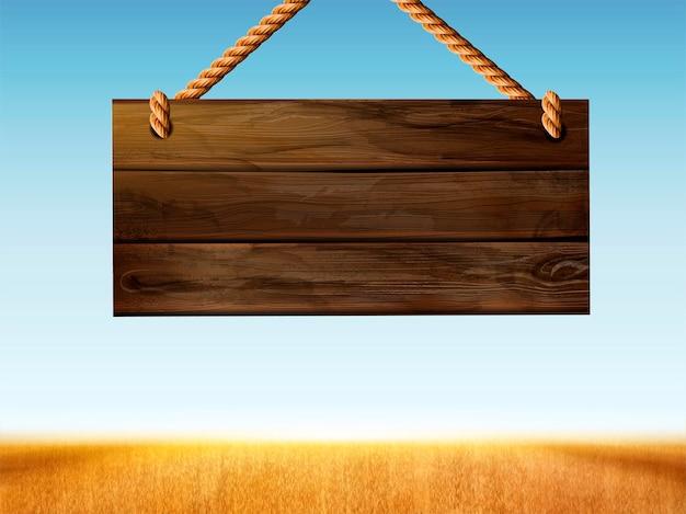 Retro sinalização de madeira pendurada no campo de trigo bokeh na ilustração 3d