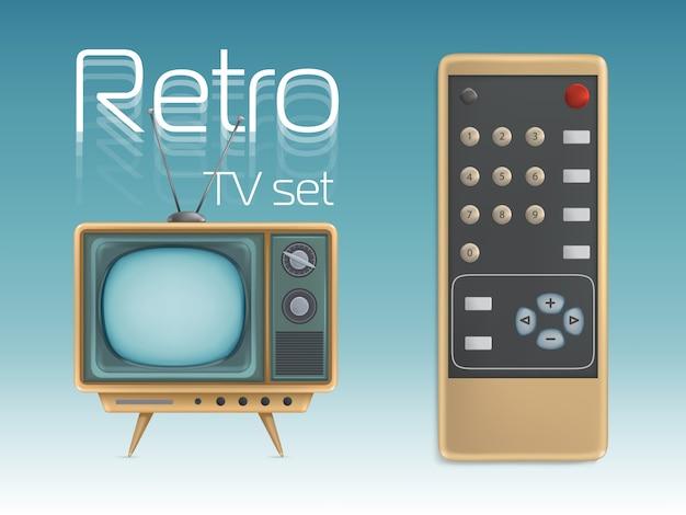 Retro televisor e controle remoto
