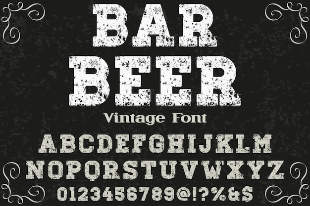 Retro tipografia rótulo design bar cerveja