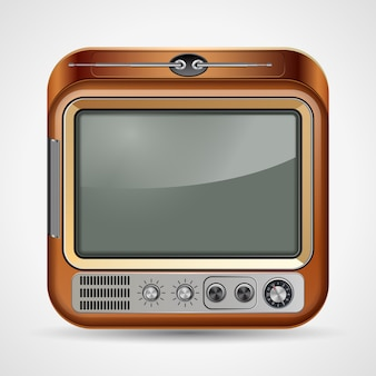 Retro tv set ícone quadrado vector