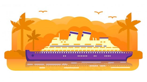 Retro velho do navio de cruzeiros. curso marinho do verão. forro de oceano do passageiro, ilha tropical de um por do sol da palmeira. viagem do mar. conceito de bandeira.