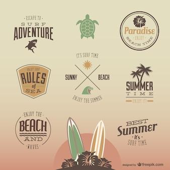 Retro verão bagdes divertidas