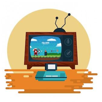 Retro videogame arcade console frame redondo