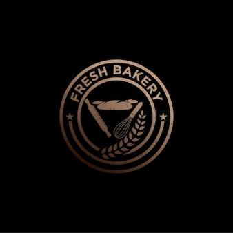 Retro vintage bakery logo badge and label stock vector design de logotipo de padaria fresca, bolos e pães variados
