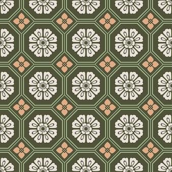 Retro vintage chinês tradicional padrão sem costura fundo polígono octógono cruzado quadrado