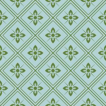 Retro vintage chinês tradicional padrão sem costura fundo verde verificação cruz quadro linha flor ponto