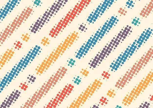 Retro vintage colorido com fundo de pontos de meio-tom, design de fundo abstrato retrô de meio-tom