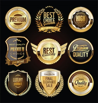 Retro vintage dourado emblemas etiquetas e escudos