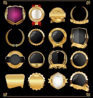 Retro vintage dourado rótulos e banners coleção vector Vetor Premium
