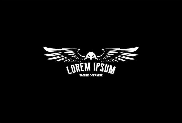Retro vintage eagle hawk falcon pássaro emblema emblema logo design vector