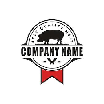 Retro vintage farm gado porco pecuária carne emblema label design de logotipo em vetor