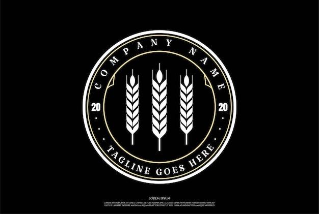 Retro vintage grão trigo malte arroz grama logo design vector