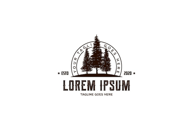 Retro vintage hipster pinheiro abeto evergreen cedar conífera conífera larch cypress cicuta árvore logo design vector