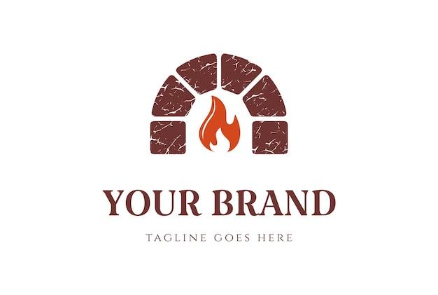 Retro vintage keystone fire brick lareira forno design de logotipo em vetor