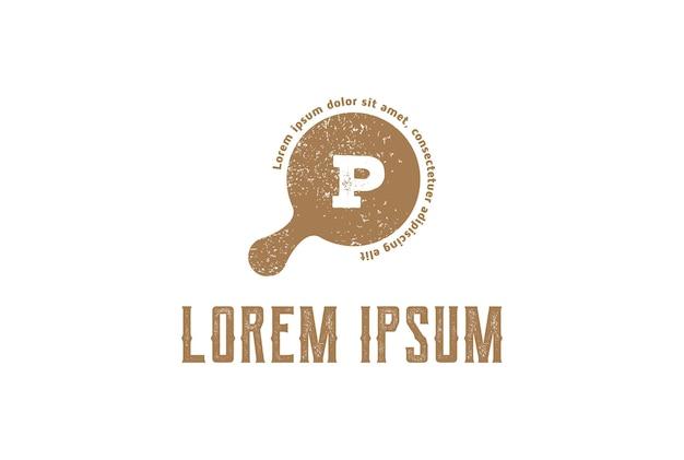 Retro vintage letra p para pizza pizzeria design de logotipo em vetor