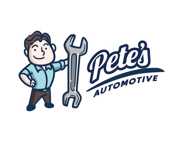 Retro vintage mechanic ou reparador logotipo