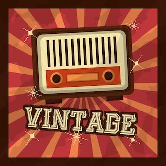Retro vintage music radio device ilustração vetorial clássica