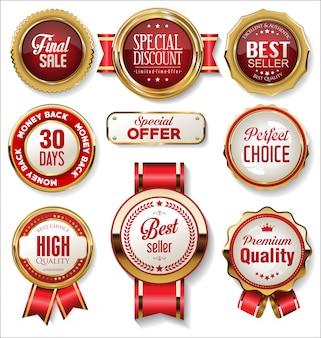 Retro vintage ouro e vermelho emblemas e etiquetas coleção