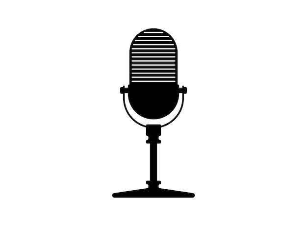 Retro vintage rádio microfone microfone silhueta música voz podcast gravação ícone estúdio de gravação