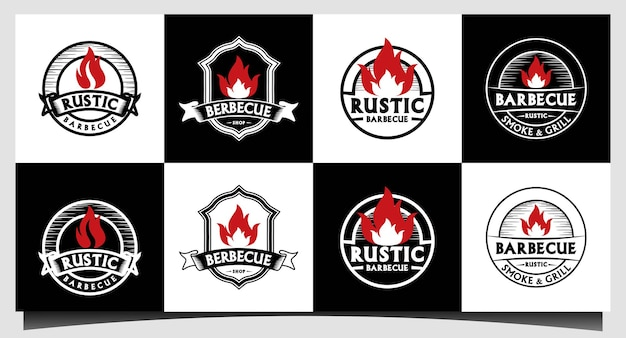 Retro vintage retro rústico churrasqueira, churrasco, churrasco rótulo selo design de logotipo em vetor