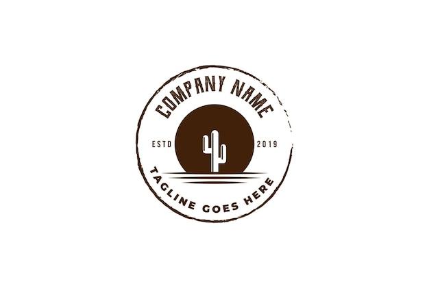 Retro vintage sobremesa cacto planta logo design vector