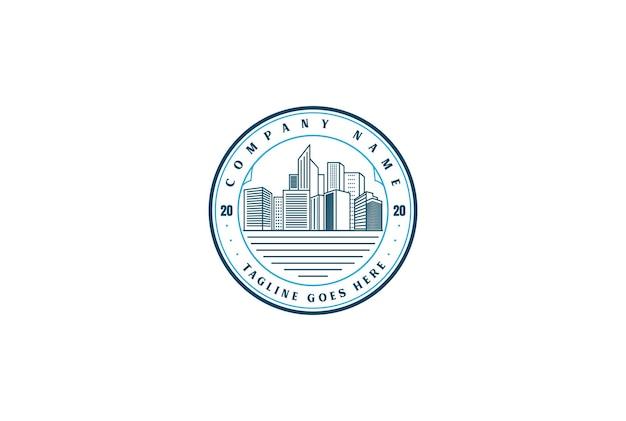 Retro vintage urban skyline city town linha contorno logo design vector