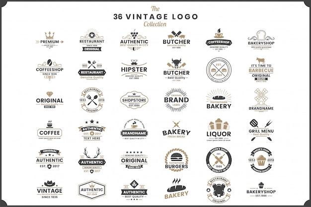 Retro vintage vector emblemas definir coleção