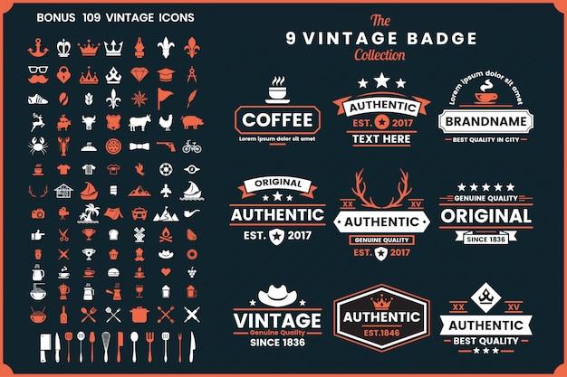 Retro vintage vector emblemas e ícones
