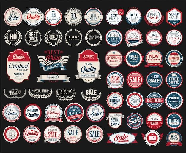 Retro vintage venda emblemas e etiquetas coleção