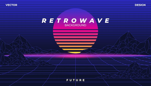 Retrowave cyber neon background landscape 80s styled.