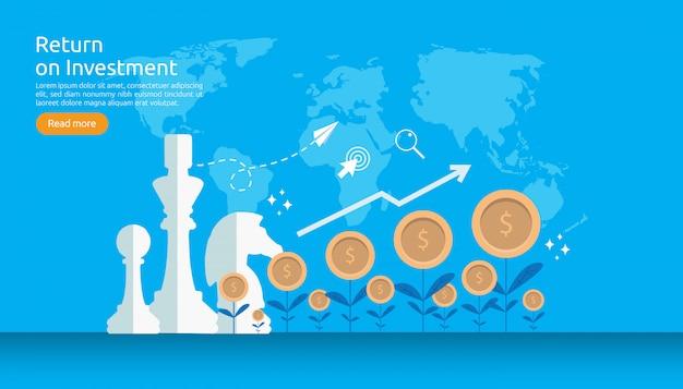 Return investment roi or growth conceito de finanças de negócios