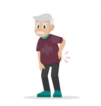 Reumatismo. dor lombar. avô está segurando suas costas.