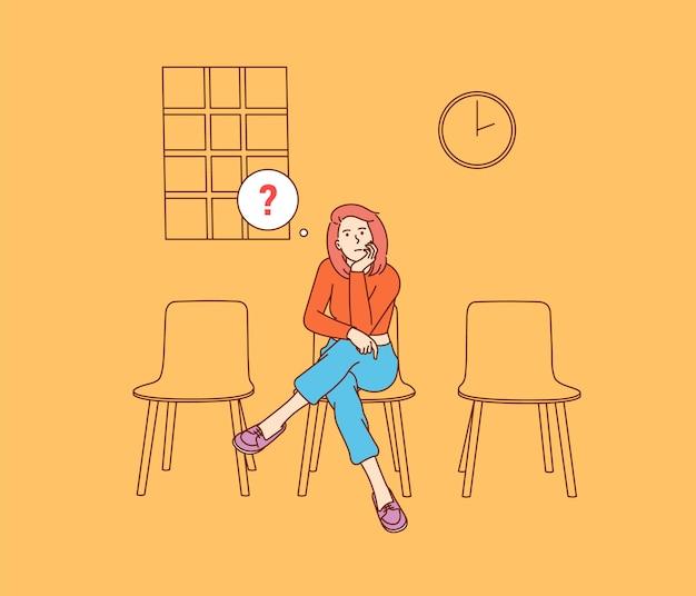 Reunião, adiar férias. jovem mulher infeliz sentada pensativa.