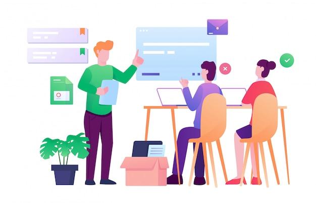 Reunião apresentação companheiro de equipe ilustração plana