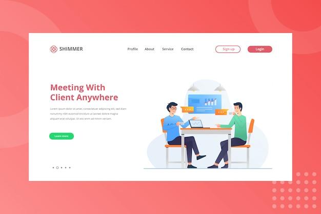 Reunião com o cliente em qualquer lugar da ilustração para trabalhar em casa, na página de destino